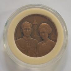 เหรียญทองแดง ที่ระลึกพระบรมราชาภิเษกสมรส ครบ 50 ปี 2543